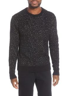 John Varvatos Star USA Boulder Leopard Jacquard Crewneck Sweater