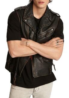 John Varvatos Star USA Bruce Sheep Skin Regular Fit Biker Vest