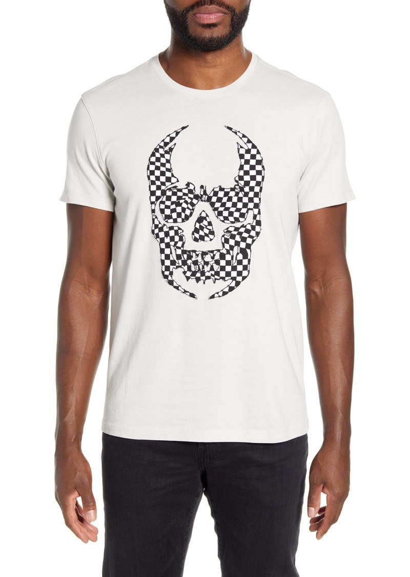 John Varvatos Star USA Checker Skull Appliqué T-Shirt