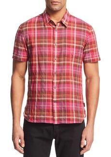 John Varvatos Star USA Clyde Madras Plaid Regular Fit Shirt