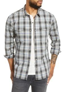 John Varvatos Star USA Dale Regular Fit Plaid Snap-Up Western Shirt