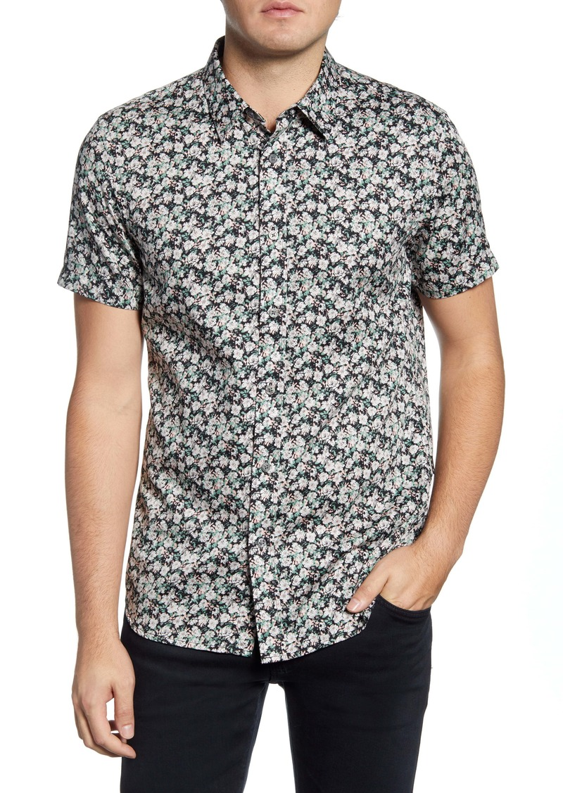 John Varvatos Star USA Doug Floral Short Sleeve Button-Up Shirt