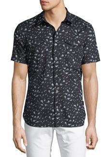 John Varvatos Floral-Print Short-Sleeve Sport Shirt