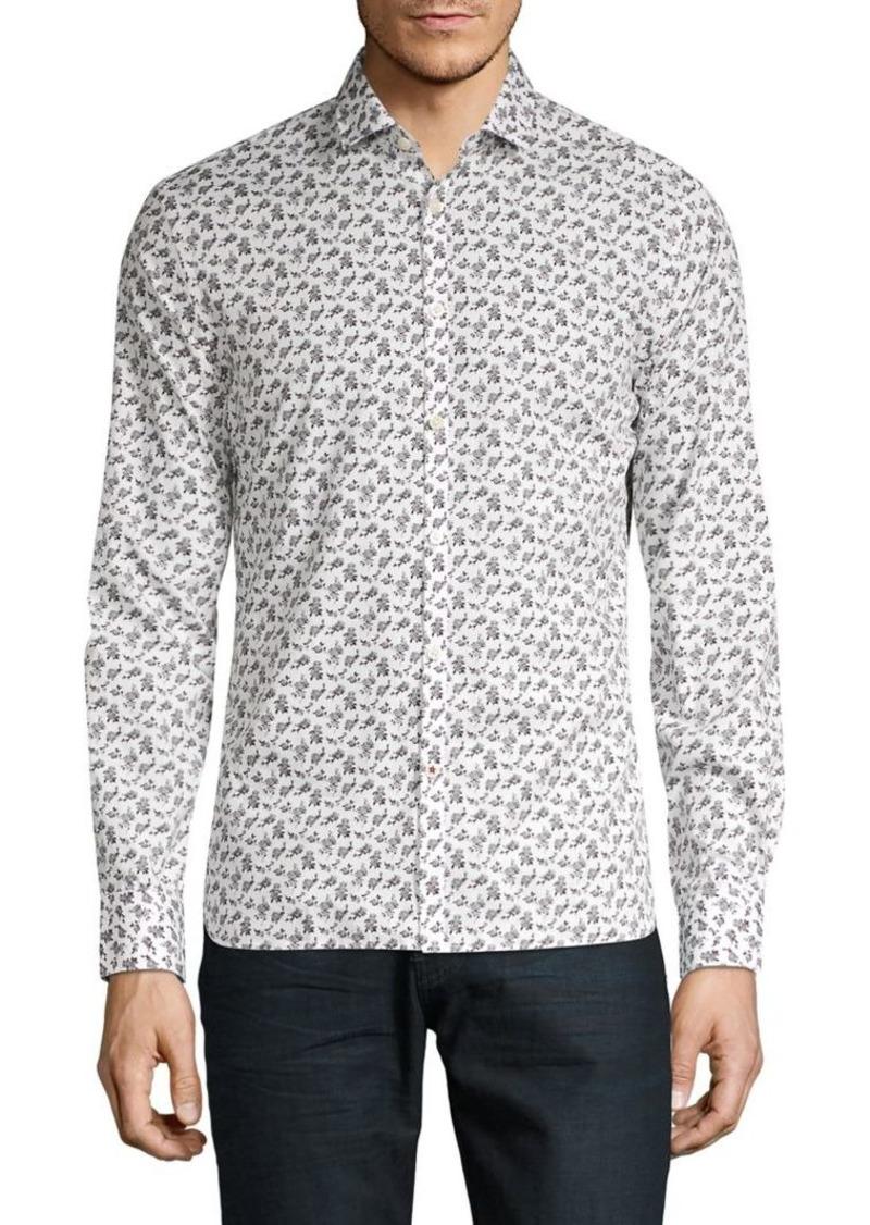 John Varvatos Star U.S.A. Floral-Print Spread Collar Shirt