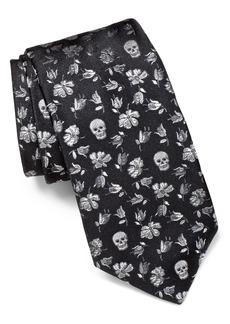 John Varvatos Star USA Floral Skull Silk Tie