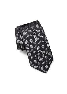 John Varvatos Star USA Floral Skulls Classic Tie