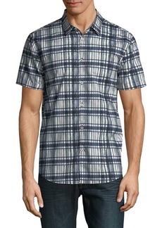 John Varvatos Star U.S.A. Grid-Plaid Short-Sleeve Shirt