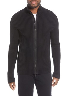John Varvatos Star USA Lincoln Ribbed Zip Front Mercerized Cotton Sweater