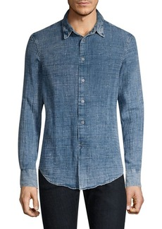 John Varvatos Star U.S.A. Long-Sleeve Windowpane Denim Button-Down Shirt