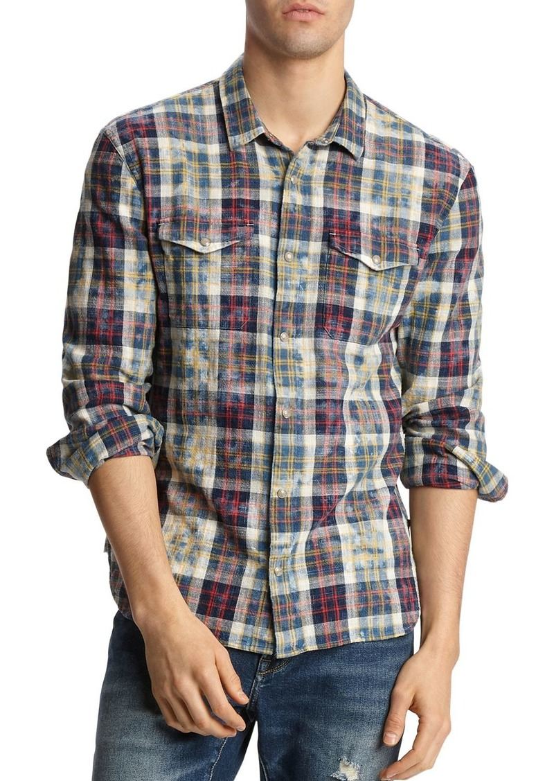 John Varvatos Star USA Marshall Plaid Slim Fit Western Shirt