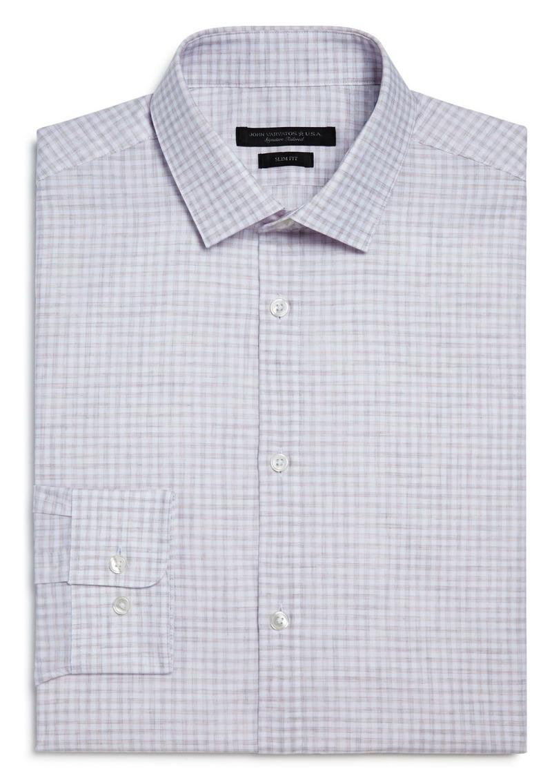 John Varvatos Star USA Melange Check Slim Fit Dress Shirt