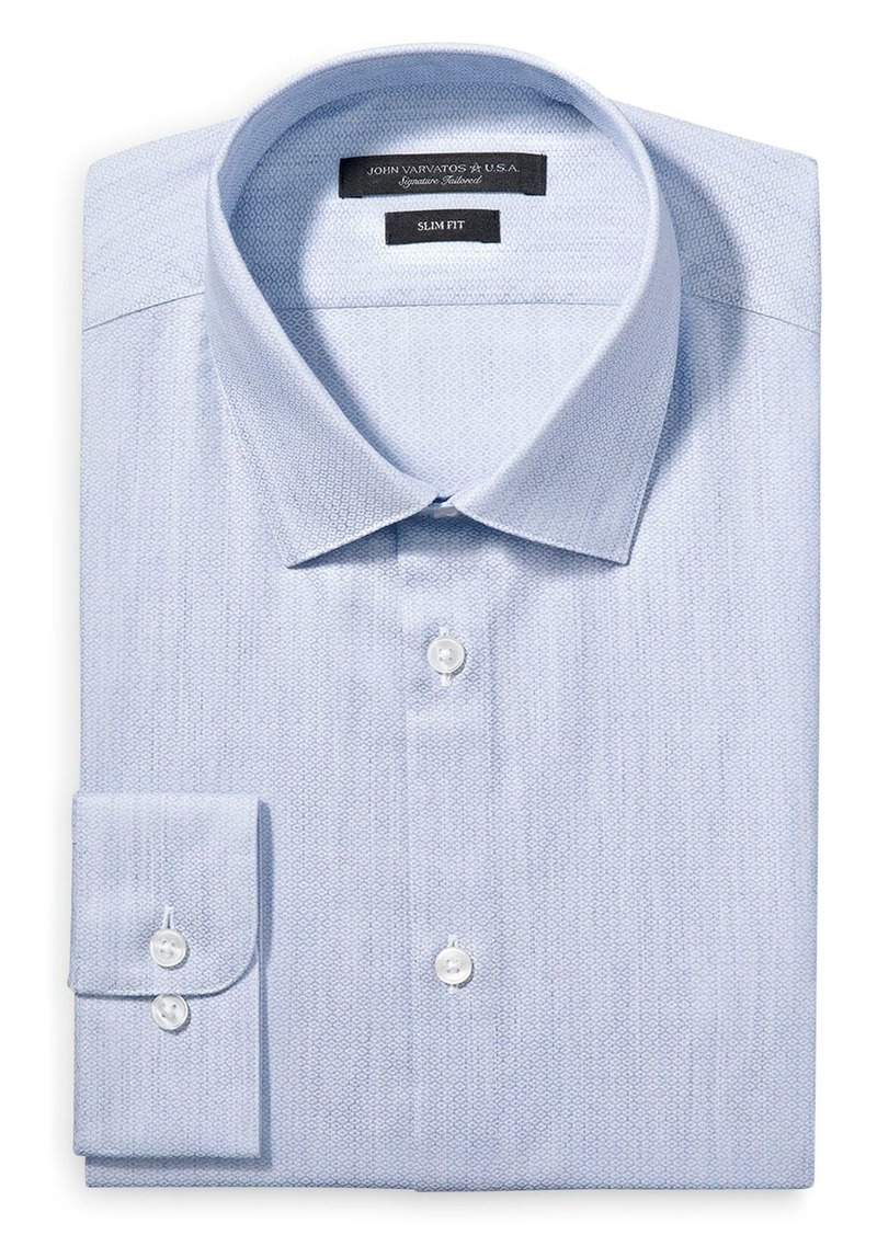 John Varvatos Star USA Melange Print Solid Slim Fit Dress Shirt