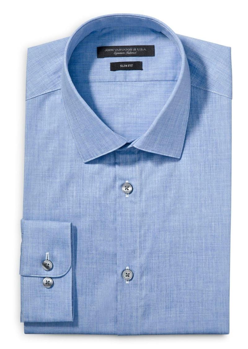 John Varvatos Star USA Melange Solid Slim Fit Dress Shirt