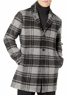 John Varvatos Star USA Men's Carsen CAR Coat in Plaid Wool Blend  S