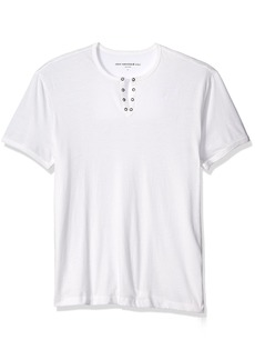 John Varvatos Star USA Men's Eyelet Henley Shirt  Small
