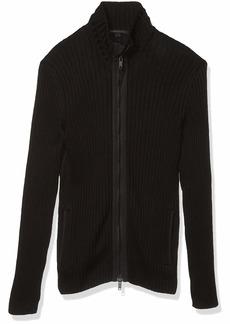 John Varvatos Star USA Men's Lincoln Long Sleeve Mercerized Cotton Full Zip Sweater