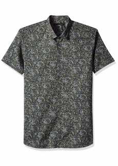 John Varvatos Star USA Men's Lion Foliage Printed POPLIN Shirt  M