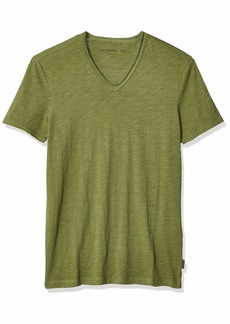 John Varvatos Star USA Men's Miles Short Sleeve SLUB V-Neck with Cut RAW Edge  Extra Extra Large