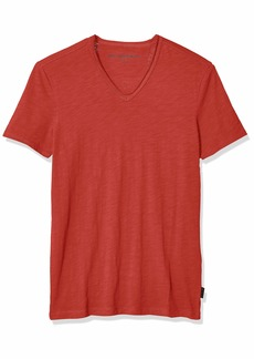John Varvatos Star USA Men's Miles Short Sleeve SLUB V-Neck with Cut RAW Edge kiss red