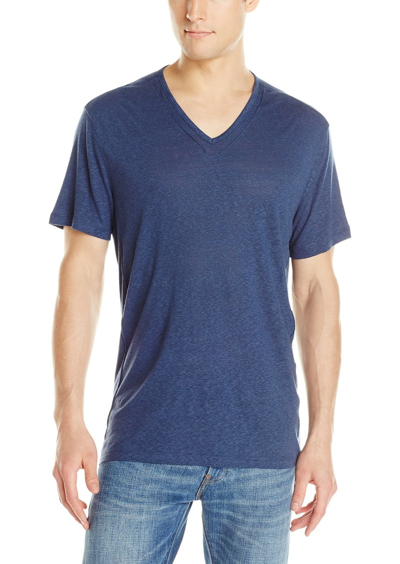 John Varvatos Star USA Men's Short Sleeve Knit V Neck T-Shirt with Pintuck Details