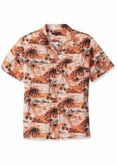 John Varvatos Star USA Men's Skip SS Camp Collar Shirt-Island Skull Print
