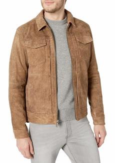 John Varvatos Star USA Men's Travis Leather Trucker Jacket