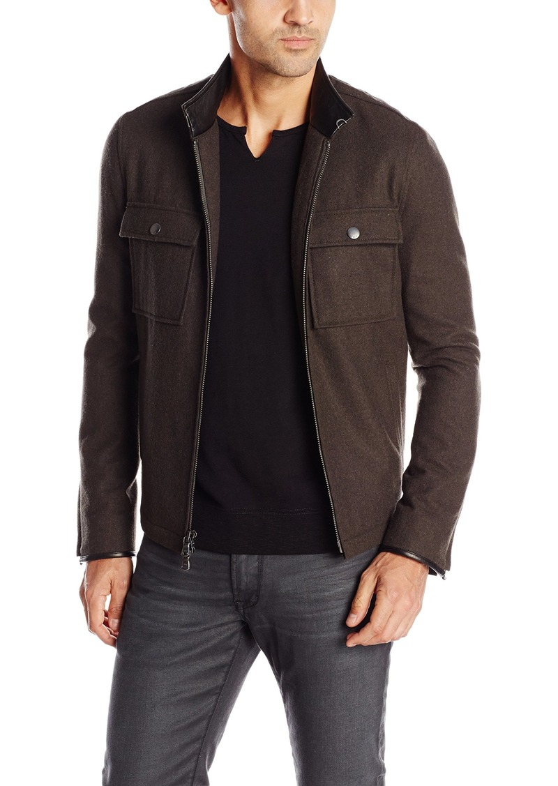 John Varvatos Star USA Men's Waister Jacket with Chest Patch Pockets
