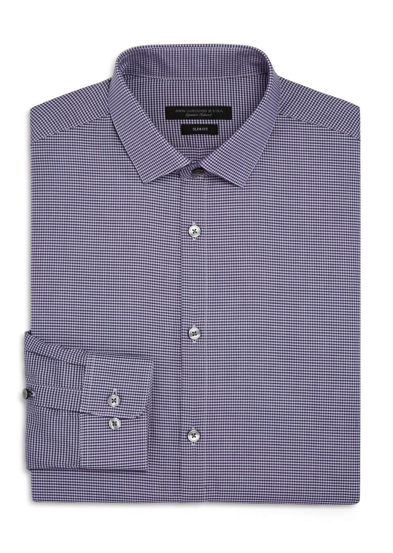 John Varvatos Star USA Micro-Gingham Slim Fit Dress Shirt