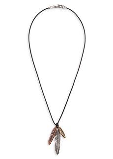 John Varvatos Mixed Feather Pendant Necklace