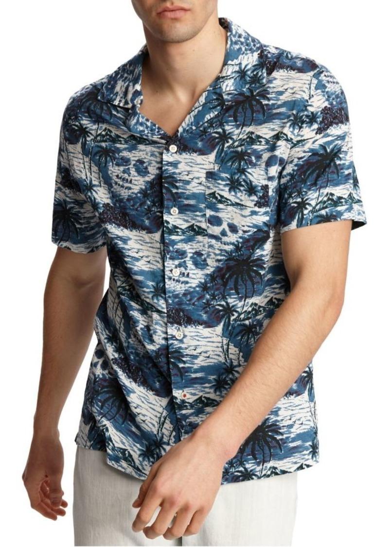 John Varvatos Star U.S.A. Palm Printed Camp Shirt