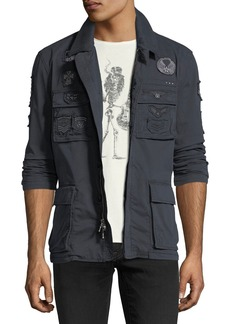 John Varvatos Patched Mid-Length Twill Jacket