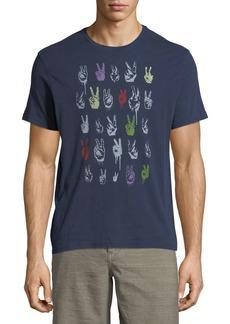 John Varvatos Peace Sign Rows Graphic T-Shirt