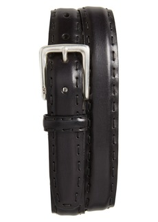 John Varvatos Star USA Pickstitch Feather Edge Leather Belt