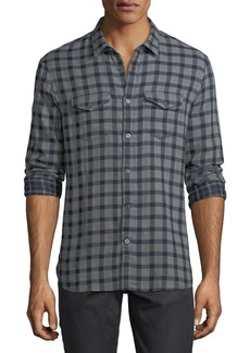 John Varvatos Plaid Cotton Western Shirt