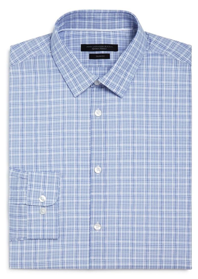 John Varvatos Star USA Plaid Slim Fit Dress Shirt