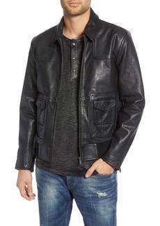 John Varvatos Star USA Regular Fit Leather Jacket