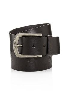 John Varvatos Star USA Rose-Embossed Washed Leather Belt