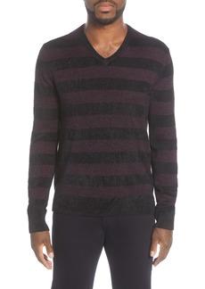 John Varvatos Slim Fit Stripe Wool Blend Sweater
