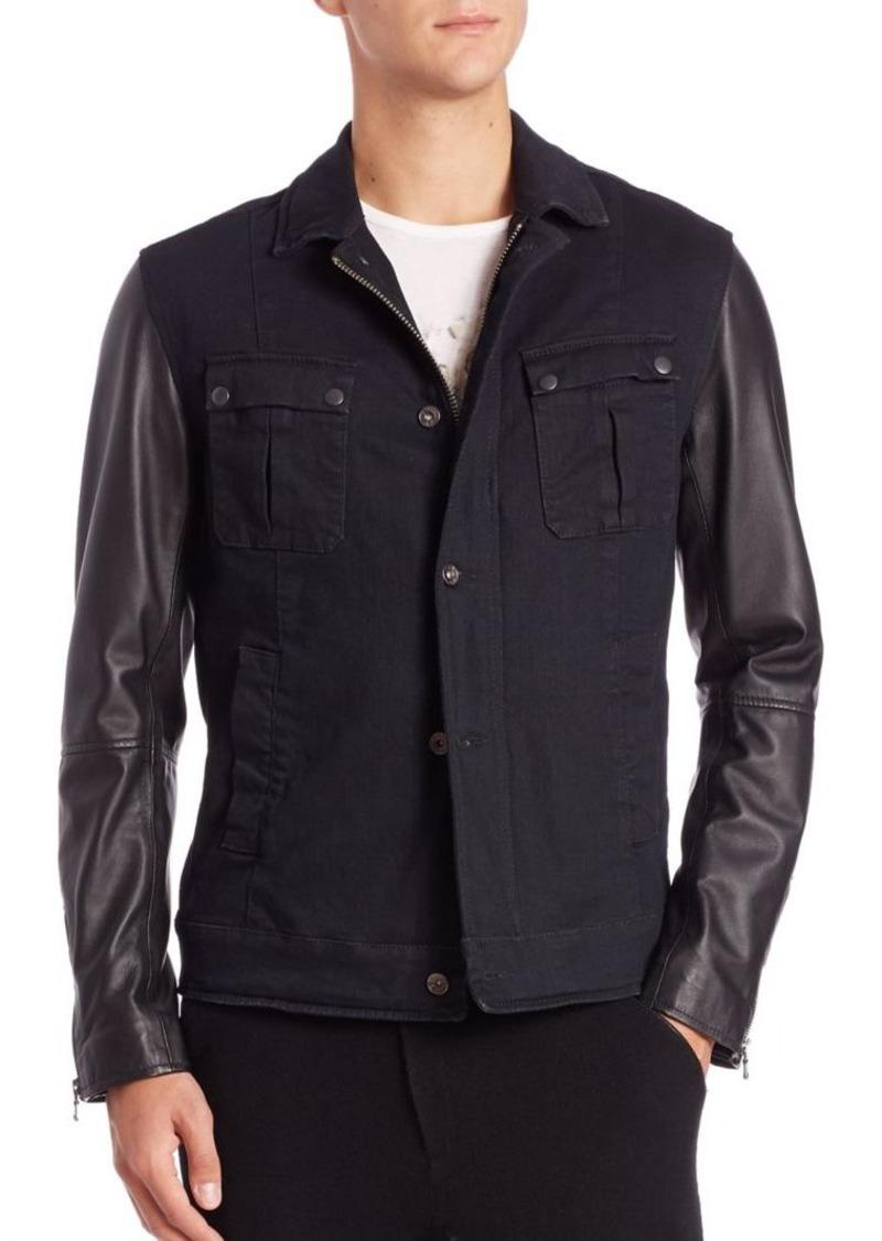 John Varvatos Star USA Star USA Military Trucker Leather-Sleeve Jacket