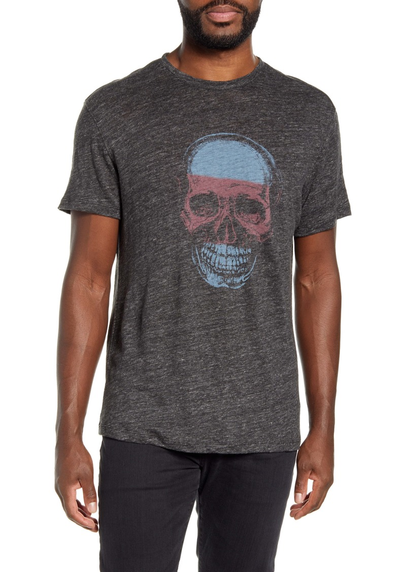 John Varvatos Star USA Stripe Skull Linen Graphic Tee
