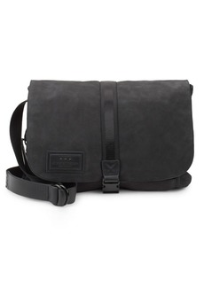 John Varvatos Suede & Ballistic Nylon Messenger Bag