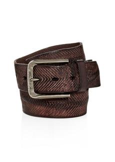 John Varvatos Star USA V-Cut Washed Leather Belt