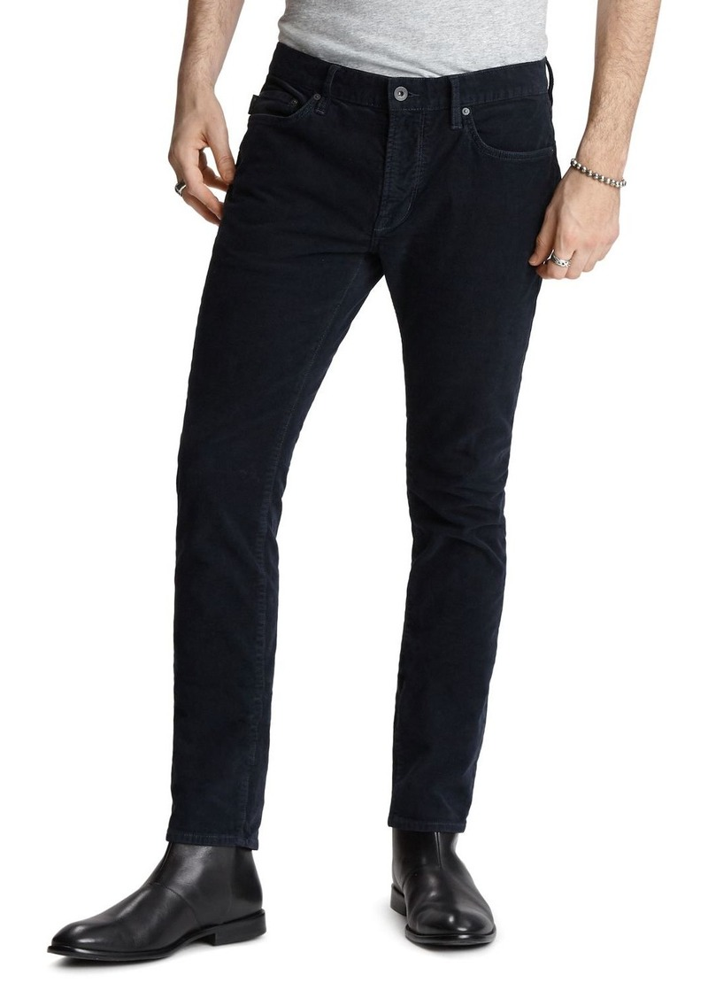 John Varvatos Star USA Wight Skinny Fit Corduroy Pants in Navy