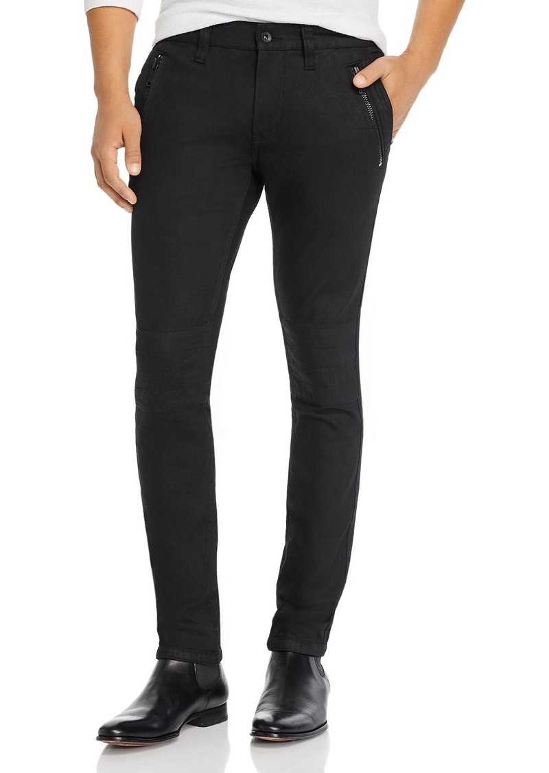 John Varvatos Star USA Wight Skinny Fit Moto Jeans in Black