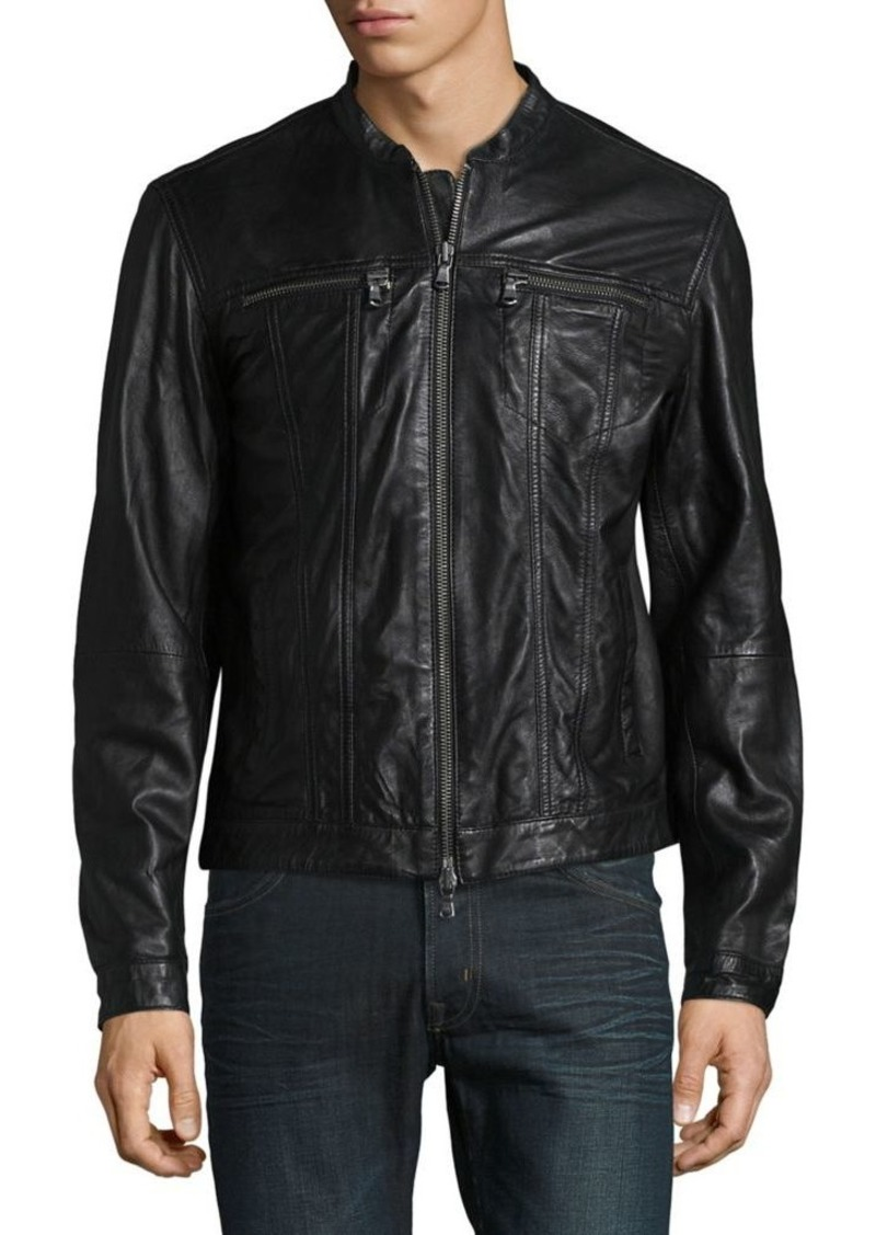 John Varvatos Star U.S.A. Zip-Front Leather Jacket