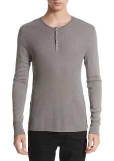 John Varvatos Collection Waffle Knit Silk & Cashmere Henley Sweater