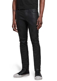 John Varvatos Wight Skinny Straight Leg Jeans with Sheepskin Knee Patch