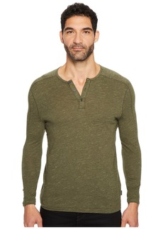 John Varvatos Knit Henley with Vertical Pickstitch Sleeve Seam Detail