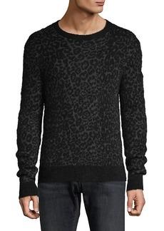 John Varvatos Leopard-Print Roundneck Sweater
