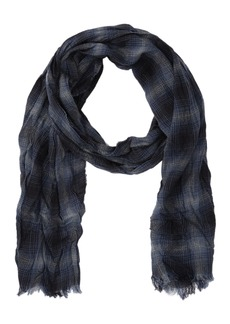 John Varvatos Lightweight Merino Wool Ombre Plaid Scarf